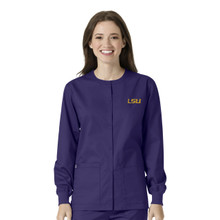LSU Grape Warm Up Nursing Scrub Jacket