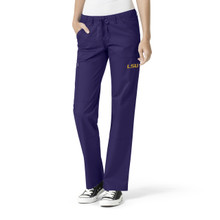 LSU Grape Women's Straight Leg Cargo Scrub Pants