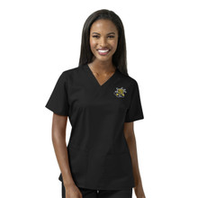 Wichita State Shockers Black Women's V Neck Scrub Top