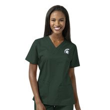 Michigan State Spartans Logo Women's V Neck Scrub Top