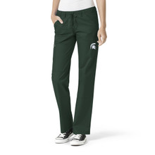 Michigan State Spartans Logo Women's Cargo Straight Leg Scrub Pants