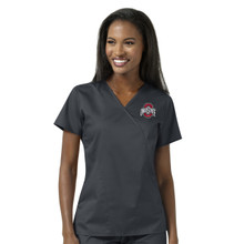 Ohio State Buckeye's Women's Mock Wrap Scrub Top*