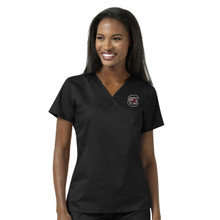 South Carolina Gamecocks Black Women's Mock Wrap Scrub Top