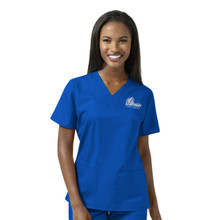 Drake Bulldogs Royal Women's V Neck Scrub Top