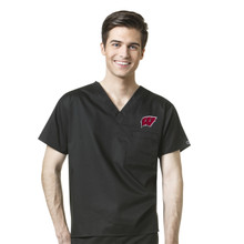 Wisconsin Badger's Men's V Neck Scrub Top*