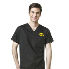 University of Iowa Hawkeyes Black Men's V Neck Scrub Top