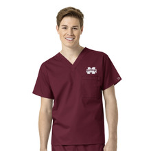 Mississippi State University- Bulldogs Men's V Neck Scrub Top
