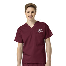 University of Montana- Grizzlies Maroon Men's V Neck Scrub Top