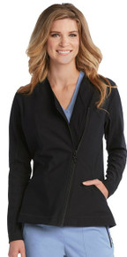 IMPACT by Grey's Anatomy™ Women's Black Sorona Asymmetric Zip Scrub Jacket