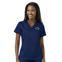 Penn State University Nittany Lions Women's Navy Mock Wrap Scrub Top