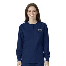 University of Penn State Nittany Lions Navy Warm Up Nursing Scrub Jacket