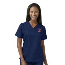 University of Illinois Fighting Illini Navy Women's V Neck Scrub Top