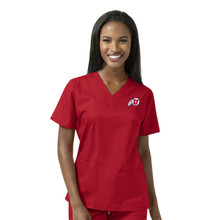 University of Utah Utes Logo Women's Red V Neck Scrub Top