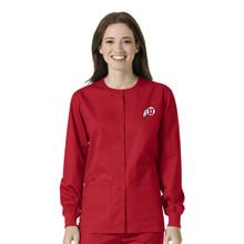University of Utah- Utes Red Warm Up Nursing Scrub Jacket  for Women