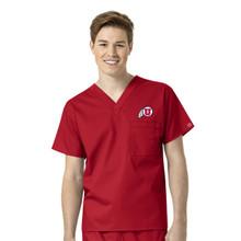 University of Utah- Utes Red Men's V Neck Scrub Top