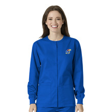 University of Kansas Jayhawks Royal Women's Warm Up Nursing Scrub Jacket