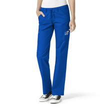 University of Kansas Jayhawks Royal Women's Straight Leg Cargo Scrub Pants