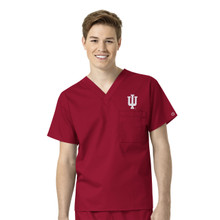 Indiana University-Hoosiers Cardinal Men's V Neck Scrub Top
