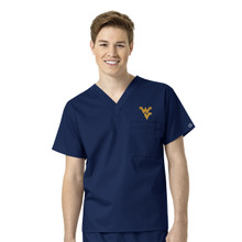 West Virginia Mountaineers Navy Men's V Neck Scrub Top
