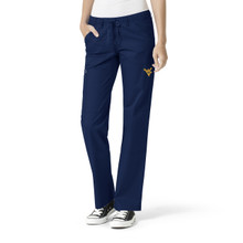 West Virginia- Mountaineers Women's Navy Cargo Straight Leg Scrub Pants
