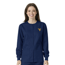 West Virginia-Mountaineers Navy Warm Up Nursing Scrub Jacket