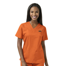 Oklahoma State- Cowboys Orange Women's V Neck Scrub Top