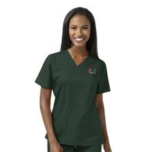 University of Miami Hurricane Women's V Neck Scrub Top