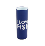 "Navy blue shooter glass with ""I Love Fish"" design."