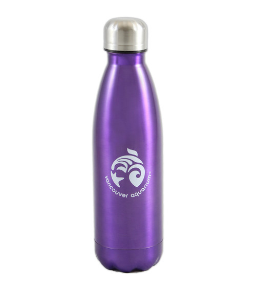 Purple stainless steel reusable bottle.