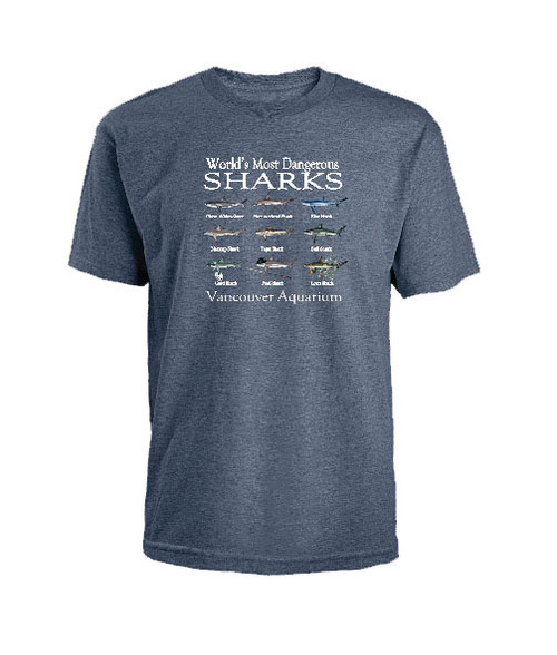 Funny and Comedic T-Shirt with a variety of sharks.