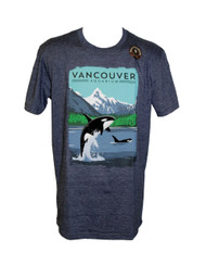 Navy T-Shirt with beautiful scenery with an Orca emerging out of the water.