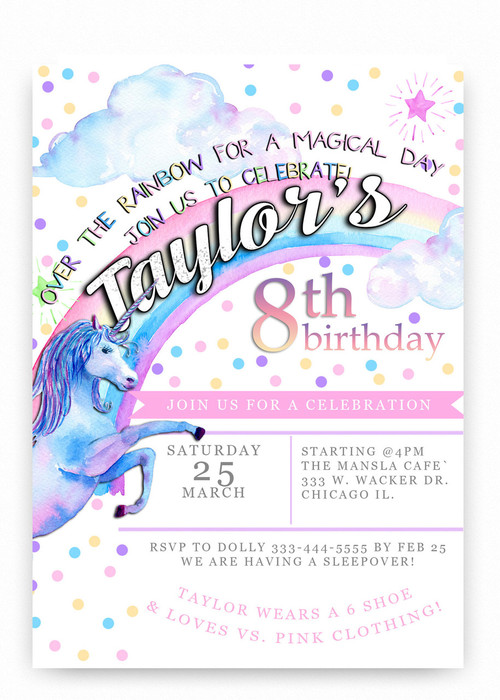 Unicorn Birthday Invitation Colorful Rainbows