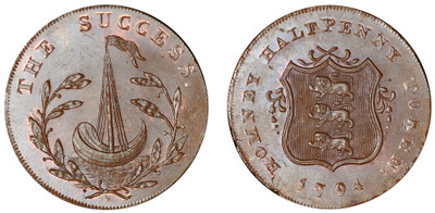 John Sawyer, Commercial Halfpenny, 1794 (D&H Kent 38)