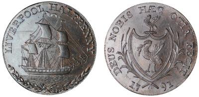 Thomas Clarke, Commercial Halfpenny, 1791 (D&H Lancashire 65)