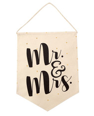 Mud Pie Canvas Decorative Flag - MR & MRS