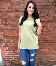 Off She Goes  Pocket Top - OLIVE