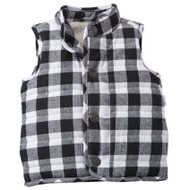 Mud Pie Buffalo Check Vest - WHITE
