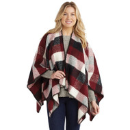 Mud Pie Carter Plaid Ruana - BURGUNDY