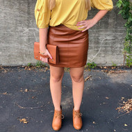 Can't Live Without You Leather Skirt - CAMEL