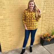 Ripe In Time Flannel Top - MUSTARD