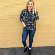 All Of Fall Flannel Top - GREEN