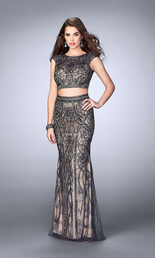 Gigi by La Femme 24386 Two Piece Beaded Lace Dress