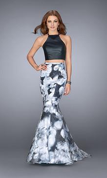 La Femme 24067 Two Piece Floral Dress