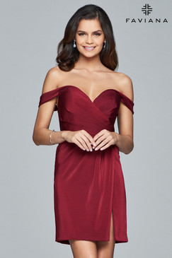 Faviana 8050 Short Off the Shoulder Dress