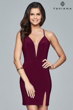 Faviana 8054 Jersey V-Neck Short Dress