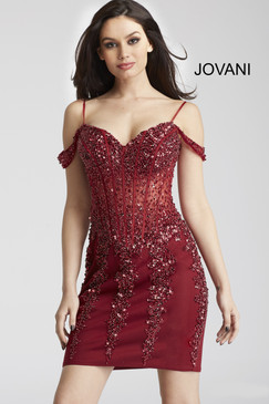 Jovani 55226 short off-the-shoulder beaded cocktail homecoming dress.