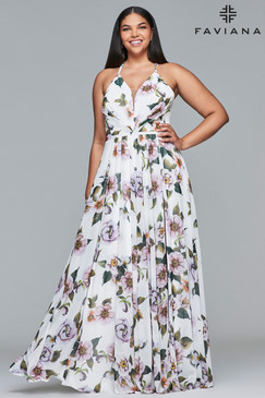 Faviana 9431 Plus Size Floral Dress