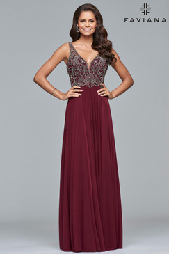 Faviana 10017 V-Neck Prom Dress