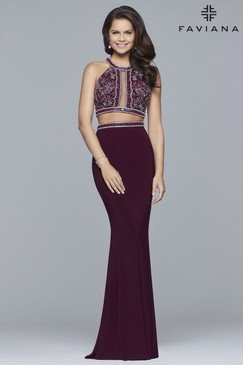 Faviana 10019 Two Piece Prom Dress