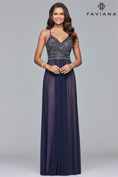 Faviana 10020 Mesh Prom Dress
